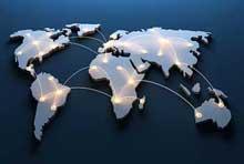 Foto Vernetzte Weltkarte